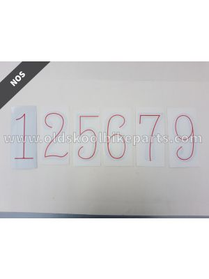 Sticker number white/red