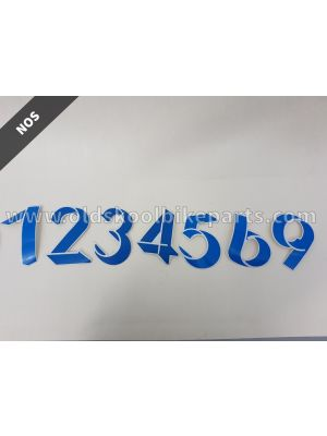Sticker number oldskool blue
