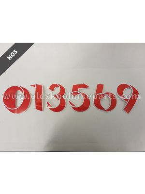 Sticker number oldskool red